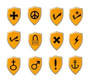 Orange Shield icon set Stock Image