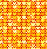 Orange shining hearts vector seamless pattern Royalty Free Stock Photos