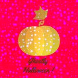 Orange shining pumpkin with snowflakes on shining halloween design. Orange shining pumpkin with snowflakes on burning red purple background with dark gray Stock Photo