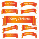 Orange shiny color merry christmas slogan curved ribbon banners eps10 Stock Photos