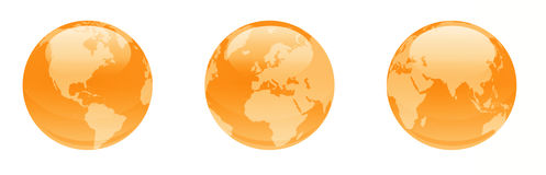Orange shiny globes. This is a digital drawing of 3 shiny orange globes Royalty Free Stock Photo