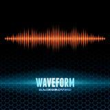 Orange shiny sound waveform on hex grid Stock Image