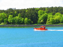 Orange ship, Lithuania Royalty Free Stock Photo