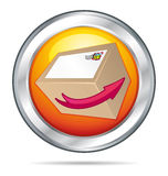 Orange shipping button ll. Royalty Free Stock Images