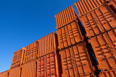 Orange shipping containers Stock Photo