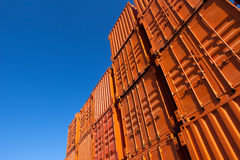 Orange shipping containers Stock Images