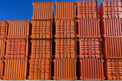 Orange shipping containers Stock Photos