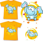 Orange shirt with baby elephant printed - vector Royalty Free Stock Photos