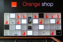 Orange shop. In Baneasa shopping city mall ,Romania Royalty Free Stock Photo
