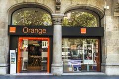 Orange Shop in Barcelona Stockbilder