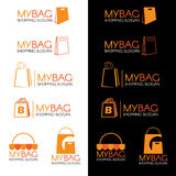 Orange Shopping bag logo set vector design Royalty Free Stock Photography