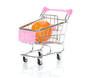 Orange in the shopping cart Stock Photography