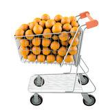 Orange in a shopping cart Stock Images