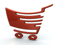 Orange shopping cart Stock Photos