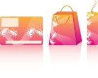 Orange shopping set. Many decorative elements. Isolated on a white background. Vector will be aditional Royalty Free Stock Photos