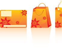 Orange shopping set Stock Image