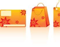 Orange shopping set. Many decorative elements. Isolated on a white background. Vector will be additional Stock Image