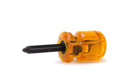 Orange short screwdriver isolated Royalty Free Stock Photography