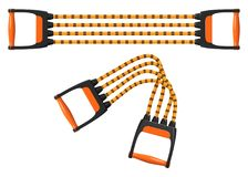 Orange shoulder expander with elastic cords, stretched and folded, vector illustration Royalty Free Stock Images