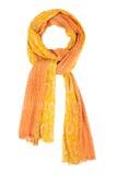 Orange siden- halsduk som isoleras på vit bakgrund Arkivbild
