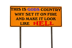 Orange Sign With This Is God's Country Stock Photo