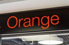 Orange sign of telecommunications provider at Orange GSM store. Gdansk, Poland - January 30, 2018: Orange sign of telecommunications provider at Orange GSM Stock Photography
