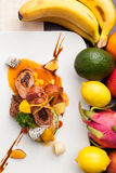 Orange signs star anise roast duck and potatoes with fresh fruit Stock Photos