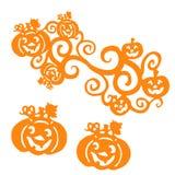 Orange Silhouette Halloween Pumpkins, on white background,. Vector Royalty Free Stock Photos