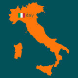 Orange silhouette of Italy with flag Stock Photography