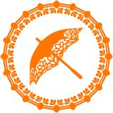 Orange Silhouette umbrella ornate, logo in a circle on a white b. Ackground, vector vector illustration