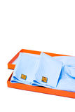 Orange silver cuff links. And men's shirt sleeve detail Stock Photos
