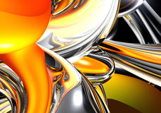 Orange&silver wires 01. A Study of Form&Colors, rendered in Bryce Stock Photos