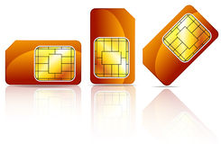 Orange sim card Stock Photos