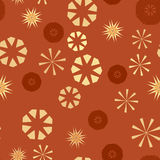 Orange simple seamless pattern for design. Vector background with geometric stars and flowers. Circular colorful texture Stock Photo