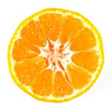 Orange single sliced. Orange sliced across to show pulp inside stock photography