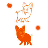 Orange sketch of a piglet, cartoon on a white background. Vector Royalty Free Stock Photography