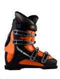 Orange ski shoe isolated Royalty Free Stock Images