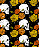 Orange skull and rose seamless pattern Royalty Free Stock Photography