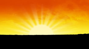 Orange sky. And dramatic sun royalty free stock photo