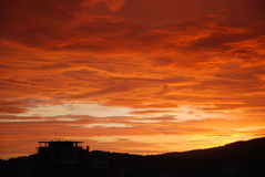 Orange Sky. View of an orange sunset in Palma de Mallorca Royalty Free Stock Image