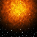 Orange Sky Background Shows Brilliant Stars And Shining Stock Images