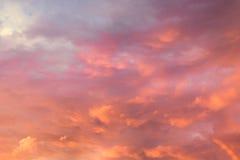 Orange sky background at sunset. Orange cloudy sky background at sunset royalty free stock photos