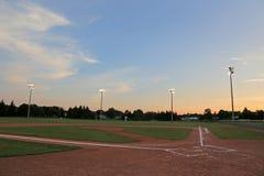 Orange Sky Ball Field Stock Image