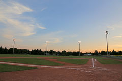 Orange Sky Ball Field Stock Image