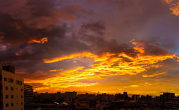 Orange sky with cloud and build in the morning Royalty Free Stock Photos