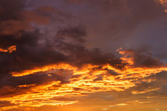 Orange sky and cloud before sunrise in the morning Royalty Free Stock Photography