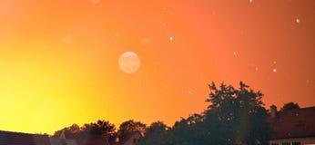 Orange sky. Orange original sky at one day stock images