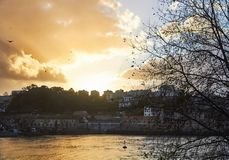 Orange sky from Porto in front of the river stock photography
