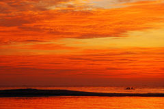 Orange sky sea Stock Photo