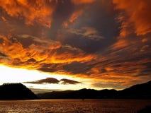 Orange sky sunset. Orange sky landscape after sunset over the lake Royalty Free Stock Images